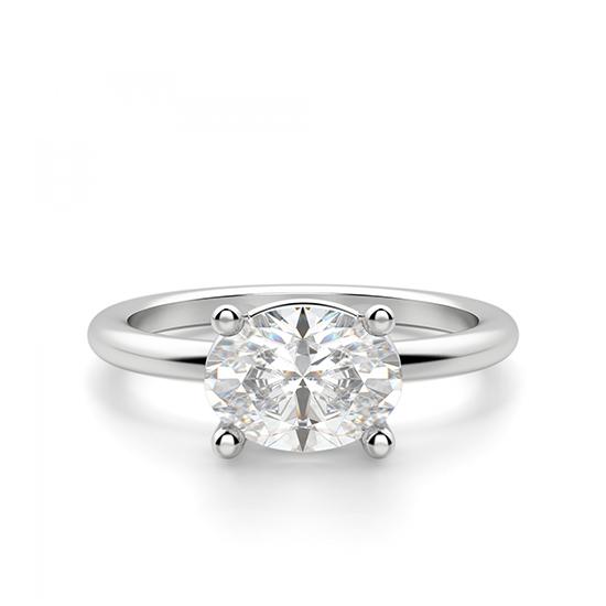 Кольцо с перевернутым овальным бриллиантом, Больше Изображение 1