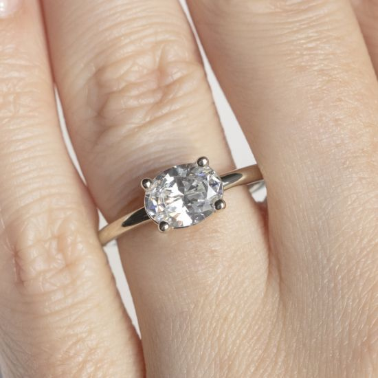 Кольцо с перевернутым овальным бриллиантом,  Больше Изображение 8