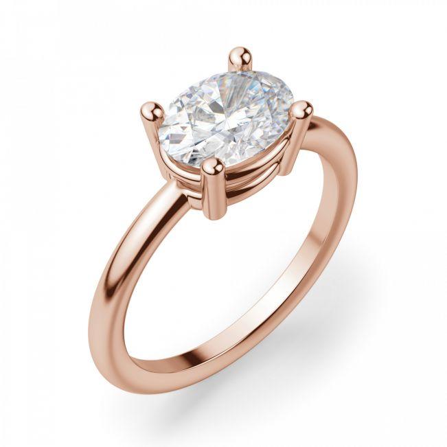 Кольцо с перевернутым бриллиантом овал