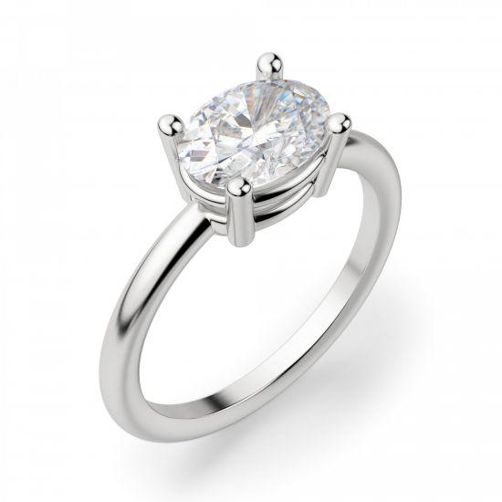 Кольцо с перевернутым овальным бриллиантом,  Больше Изображение 3