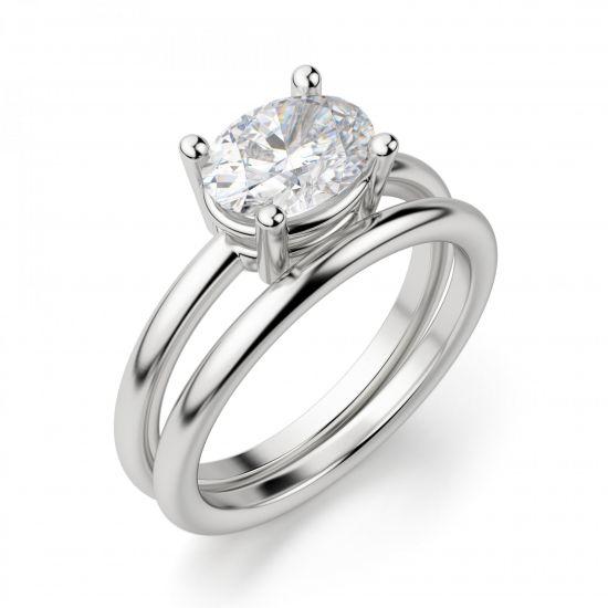 Кольцо с перевернутым овальным бриллиантом,  Больше Изображение 4