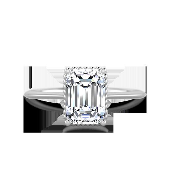 Кольцо солитер с бриллиантом огранки «изумрудная», Больше Изображение 1