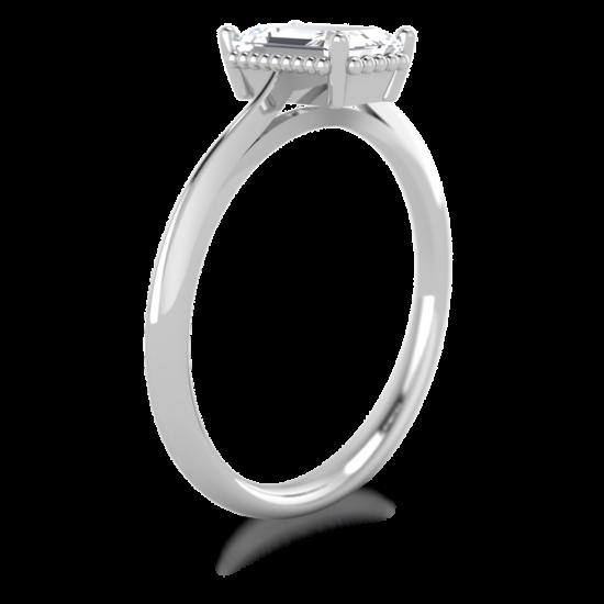 Кольцо солитер с бриллиантом огранки «изумрудная»,  Больше Изображение 2