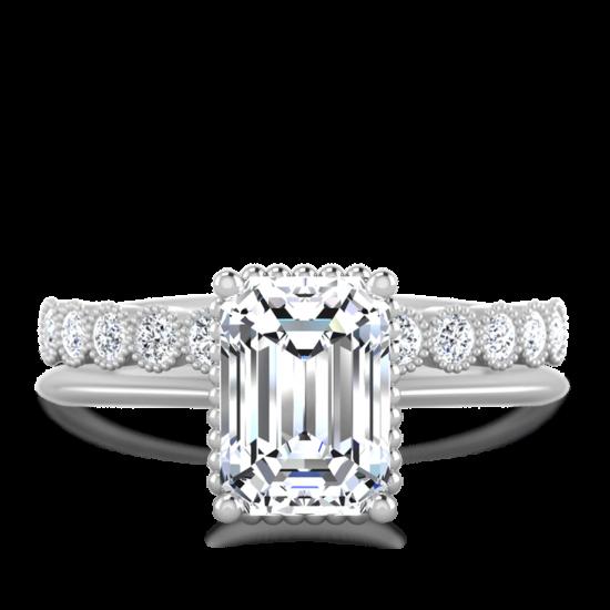Кольцо солитер с бриллиантом огранки «изумрудная»,  Больше Изображение 3