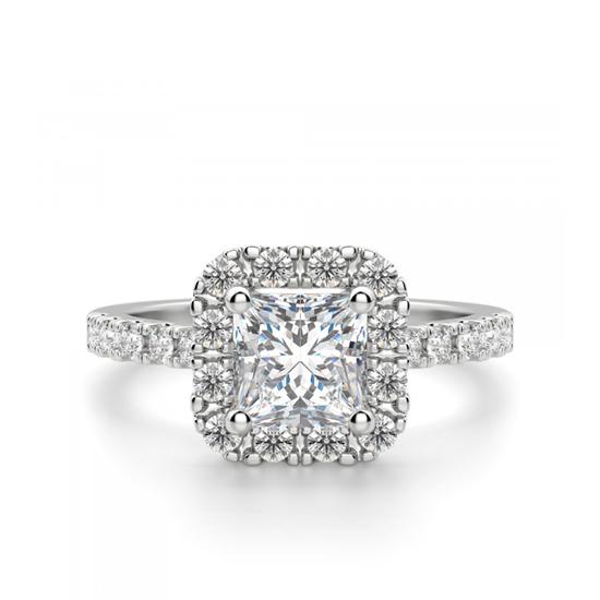 Кольцо с бриллиантом Принцесса в ореоле, Больше Изображение 1