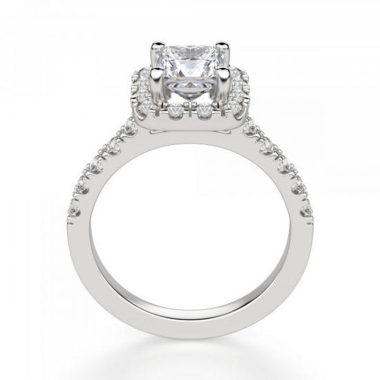 Кольцо с бриллиантом Принцесса в ореоле,  Больше Изображение 5