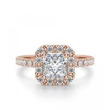 Кольцо с бриллиантом Принцесса стиль хало
