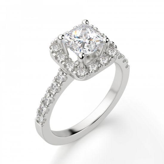 Кольцо с бриллиантом Принцесса в ореоле,  Больше Изображение 4