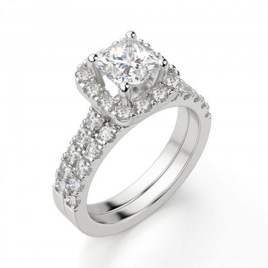 Кольцо с бриллиантом Принцесса в ореоле,  Больше Изображение 2