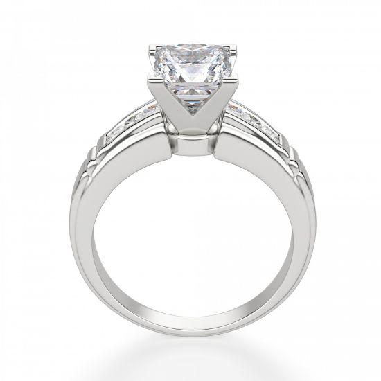 Кольцо солитер с 7 бриллиантами огранки Принцесса,  Больше Изображение 2