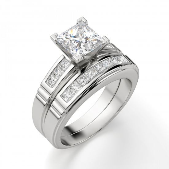 Кольцо солитер с 7 бриллиантами огранки Принцесса,  Больше Изображение 4