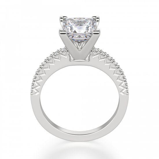 Кольцо с бриллиантом Принцесса и дорожкой с боков,  Больше Изображение 3