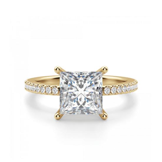 Золотое кольцо с бриллиантом Принцесса и дорожкой, Больше Изображение 1