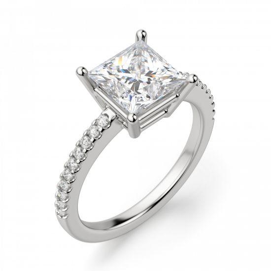 Кольцо с квадратным бриллиантом Принцесса,  Больше Изображение 2