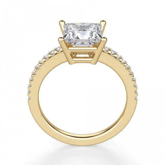 Золотое кольцо с бриллиантом Принцесса и дорожкой,  Больше Изображение 4