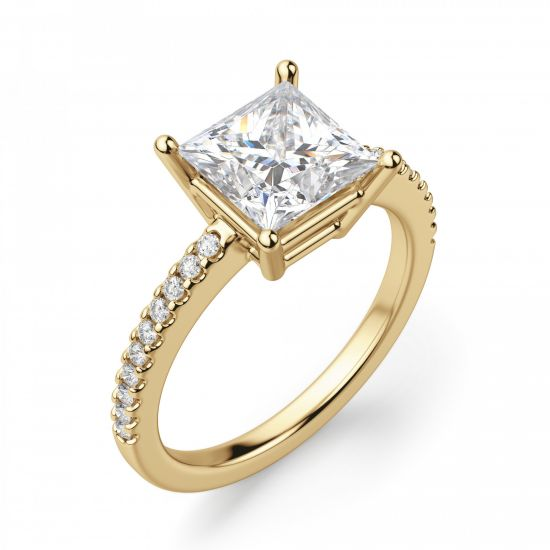 Золотое кольцо с бриллиантом Принцесса и дорожкой,  Больше Изображение 6