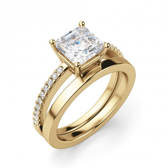 Золотое кольцо с бриллиантом Принцесса и дорожкой,  Больше Изображение 3