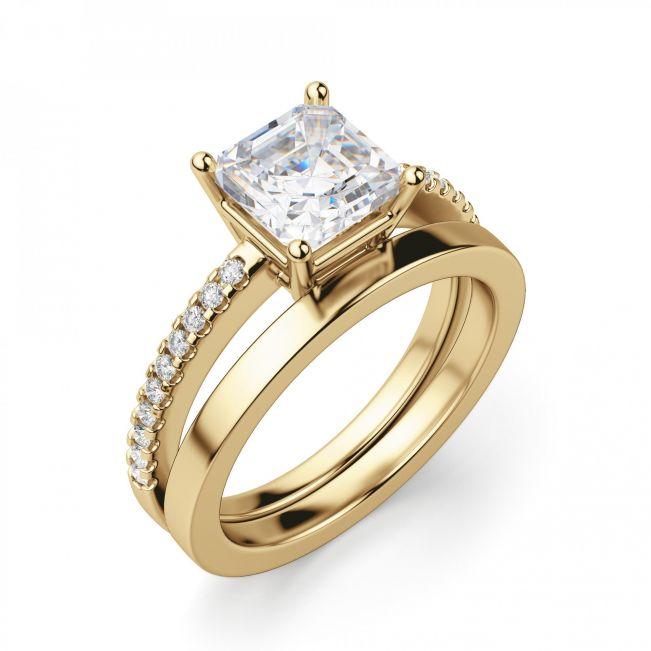 Золотое кольцо с бриллиантом Принцесса и дорожкой