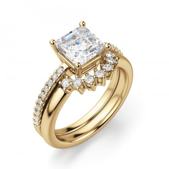 Золотое кольцо с бриллиантом Принцесса и дорожкой,  Больше Изображение 5