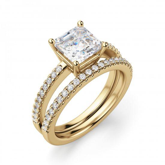 Золотое кольцо с бриллиантом Принцесса и дорожкой,  Больше Изображение 2
