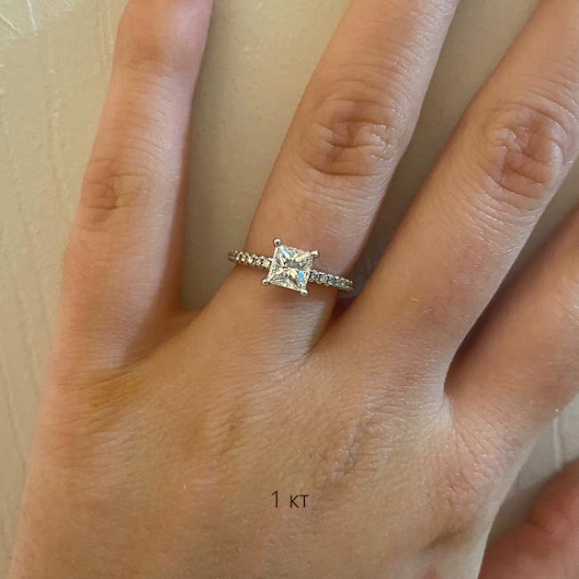 Кольцо с квадратным бриллиантом Принцесса - Фото 3