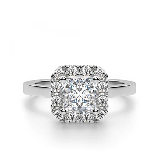 Кольцо с бриллиантом огранки «принцесса» в ореоле, Больше Изображение 1