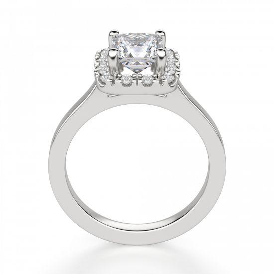 Кольцо с бриллиантом огранки «принцесса» в ореоле,  Больше Изображение 2