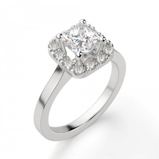 Кольцо с бриллиантом огранки «принцесса» в ореоле,  Больше Изображение 6