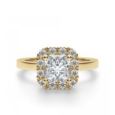 Кольцо с бриллиантом огранки принцесса в ореоле