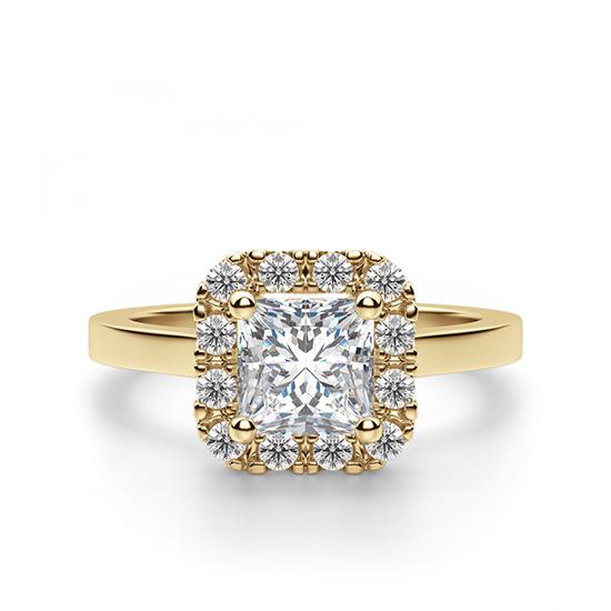 Кольцо с бриллиантом огранки принцесса в ореоле, Больше Изображение 1