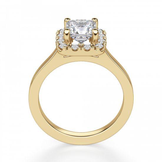 Кольцо с бриллиантом огранки принцесса в ореоле,  Больше Изображение 4