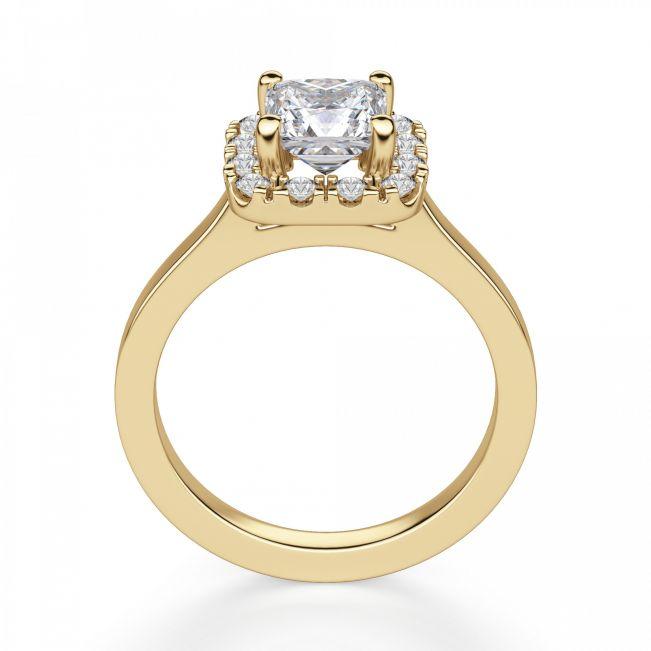 Кольцо с бриллиантом принцесса в ореоле