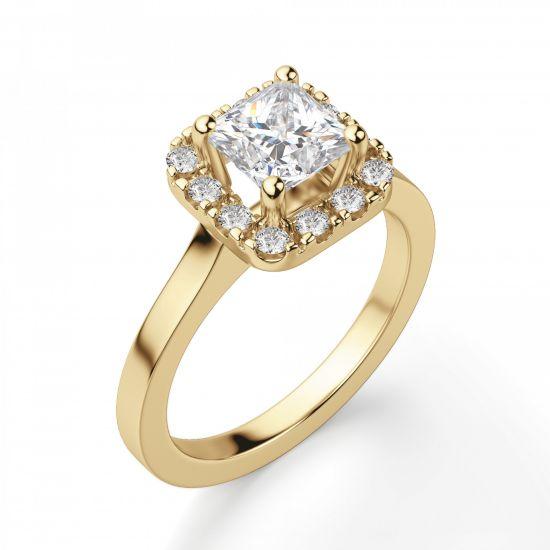 Кольцо с бриллиантом огранки принцесса в ореоле,  Больше Изображение 5
