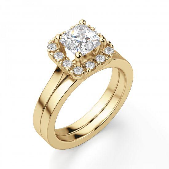 Кольцо с бриллиантом огранки принцесса в ореоле,  Больше Изображение 3