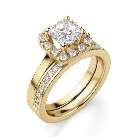 Кольцо с бриллиантом огранки принцесса в ореоле,  Больше Изображение 2