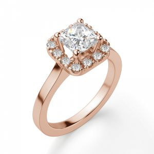 Кольцо из розового золота с бриллиантом Принцесса в ореоле