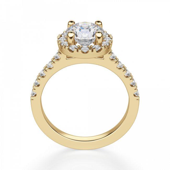 Кольцо из желтого золота с бриллиантом 1 карат в ореоле