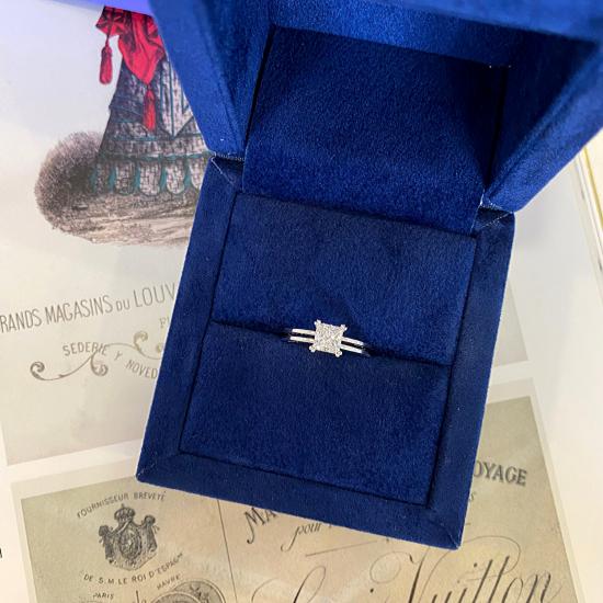 Двойное кольцо с бриллиантом Принцесса,  Больше Изображение 6