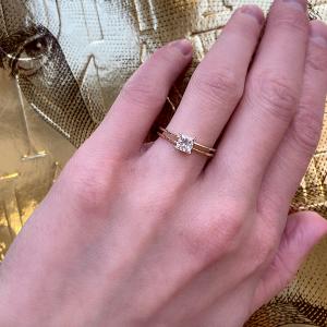 Двойное кольцо с бриллиантом Принцесса