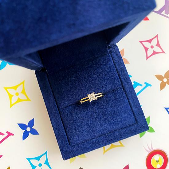 Кольцо с бриллиантом Принцесса,  Больше Изображение 5