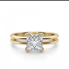Кольцо золотое двойное с бриллиантом Принцесса