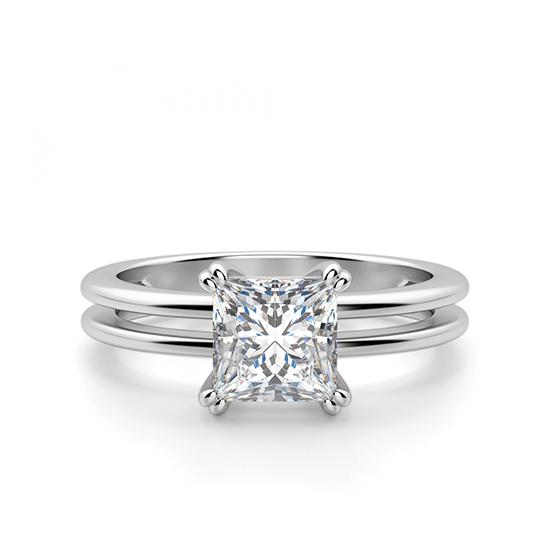 Двойное кольцо с бриллиантом Принцесса, Больше Изображение 1