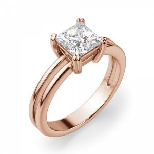 Кольцо двойное с бриллиантом Принцесса из золота