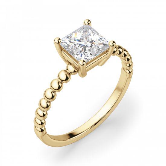 Золотое кольцо из шариков с бриллиантом Принцесса,  Больше Изображение 2