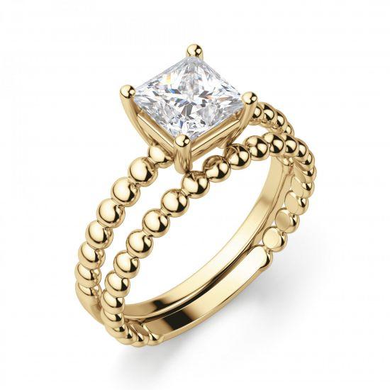 Золотое кольцо из шариков с бриллиантом Принцесса,  Больше Изображение 3