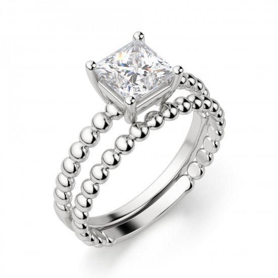 Кольцо из белого золота с шариками с бриллиантом Принцесса,  Больше Изображение 2