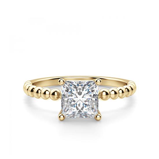 Золотое кольцо из шариков с бриллиантом Принцесса, Больше Изображение 1