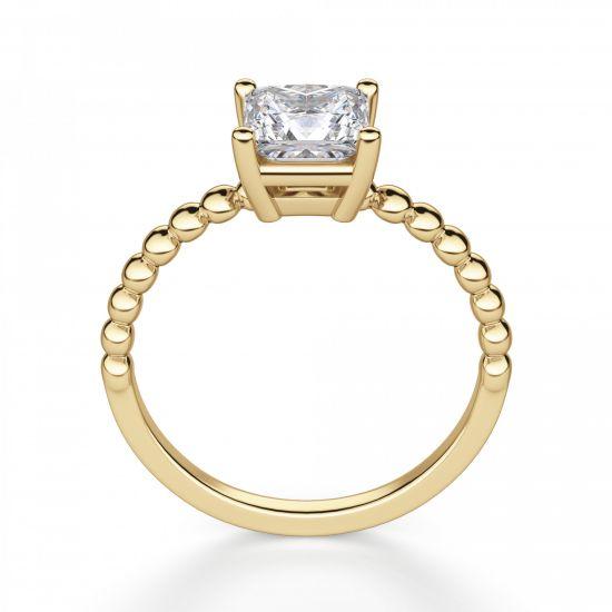 Золотое кольцо из шариков с бриллиантом Принцесса,  Больше Изображение 4