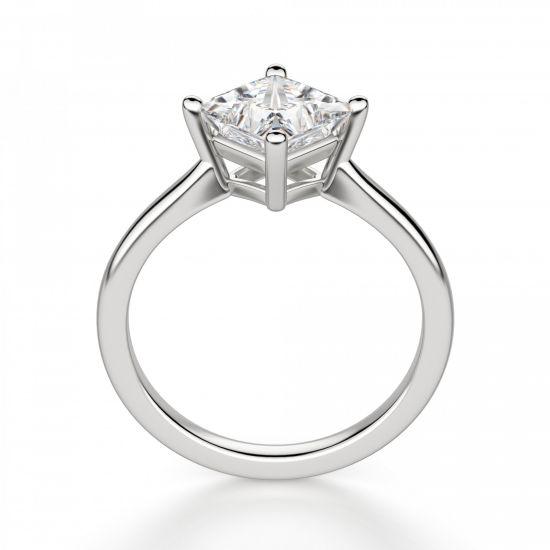 Кольцо с бриллиантом огранки Принцесса,  Больше Изображение 2