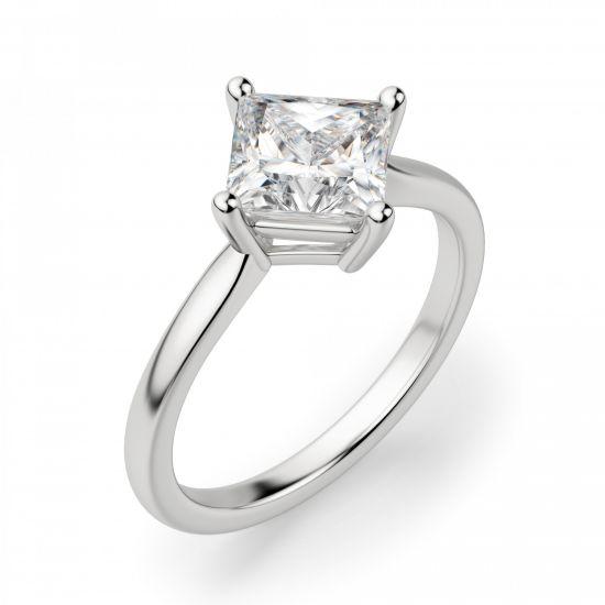 Кольцо с бриллиантом огранки Принцесса,  Больше Изображение 3